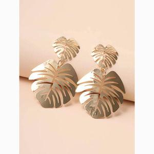 3/$30 Gold Monstera Leaf Drop Statement Earrings